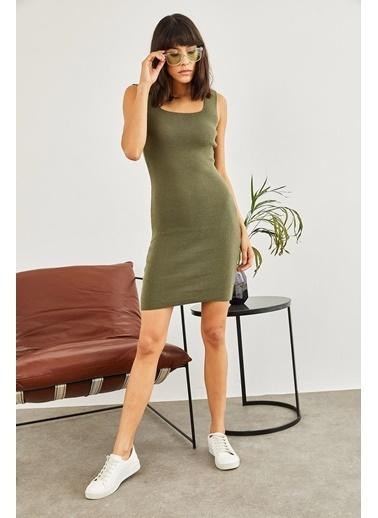 Sortee Kadın Kare Yaka Elbise Haki